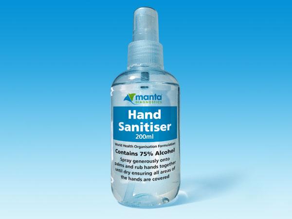 Hand Sanitiser 200ml from Manta Diagnostics