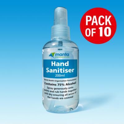 Hand Sanitiser 200ml Spray pack of ten from Manta Diagnostics