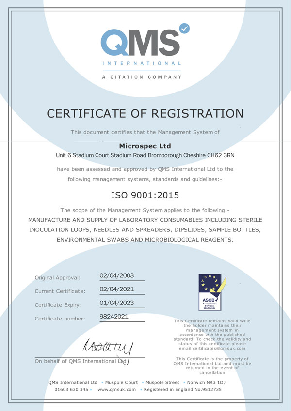 Microspec ISO 9001 Certificate